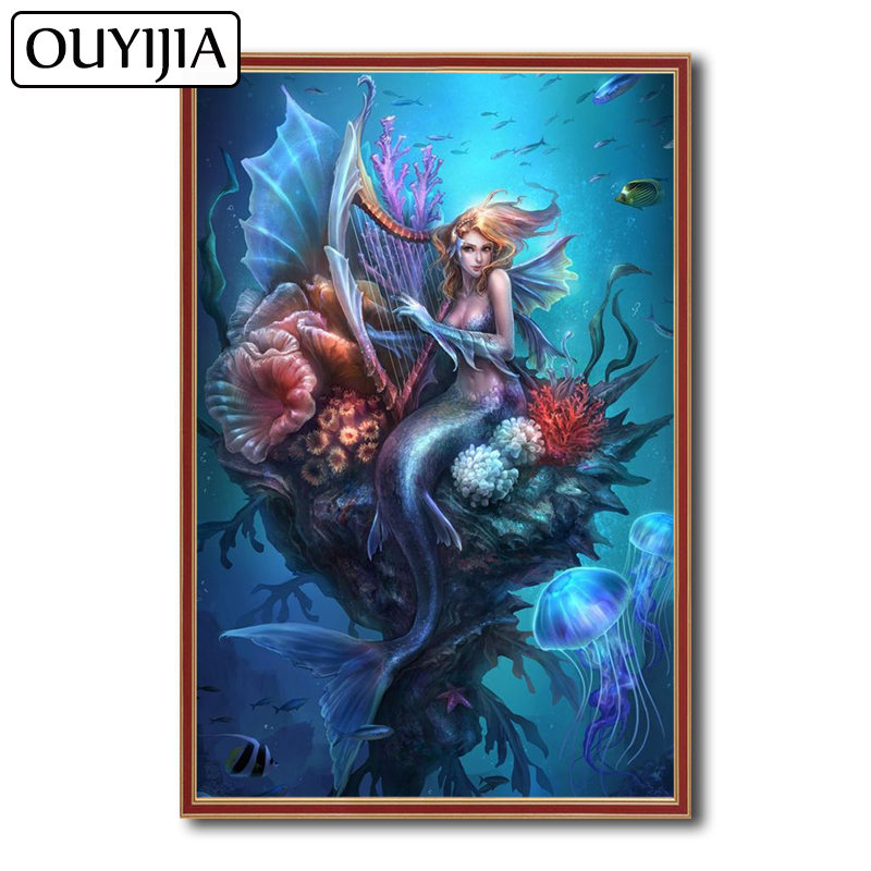 OUYIJIA Sexy Cartoon 5D DIY Diamond Painting Mermaid Beauty Siren Animal  Embroidery Decoration Gift Mosaic Rhinestone Picture -in Diamond Painting  Cross ... 0943a342577e