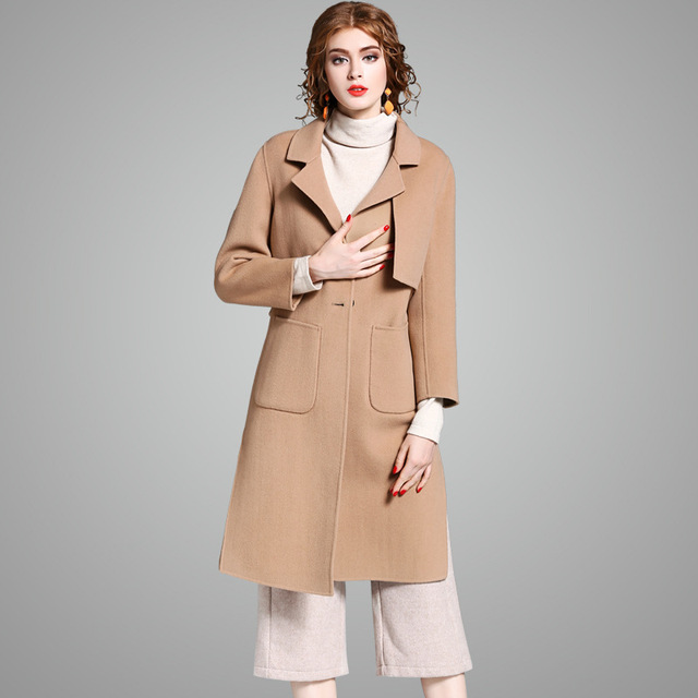 34c4d5b3b 100% wool long coat women casual winter khaki coat ladies double faced  sided imported Australia