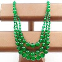 (Min. order $10 mix) 1 Strand Trzy Piętra Zielony Kamień Kule Naszyjnik 18.5 cal SHX1219 (Free Shipping)