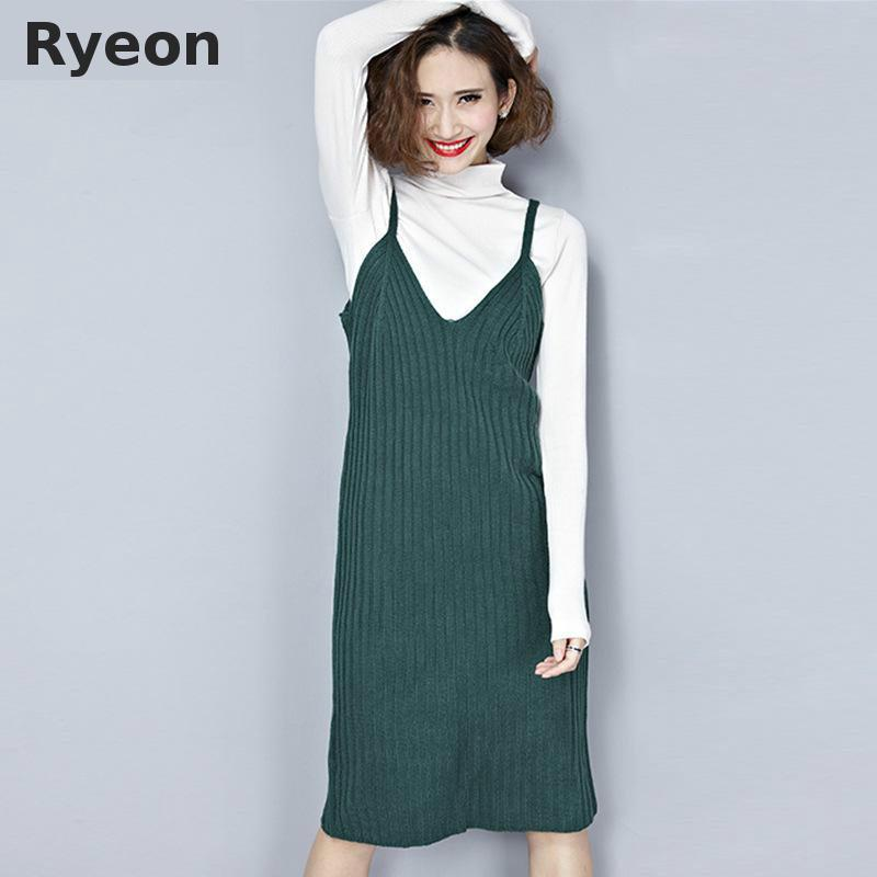 Ryeon Spring Knitted Jumper Dress Sweater Dress Preppy V neck Retro Solid Color Midi Ladies ...