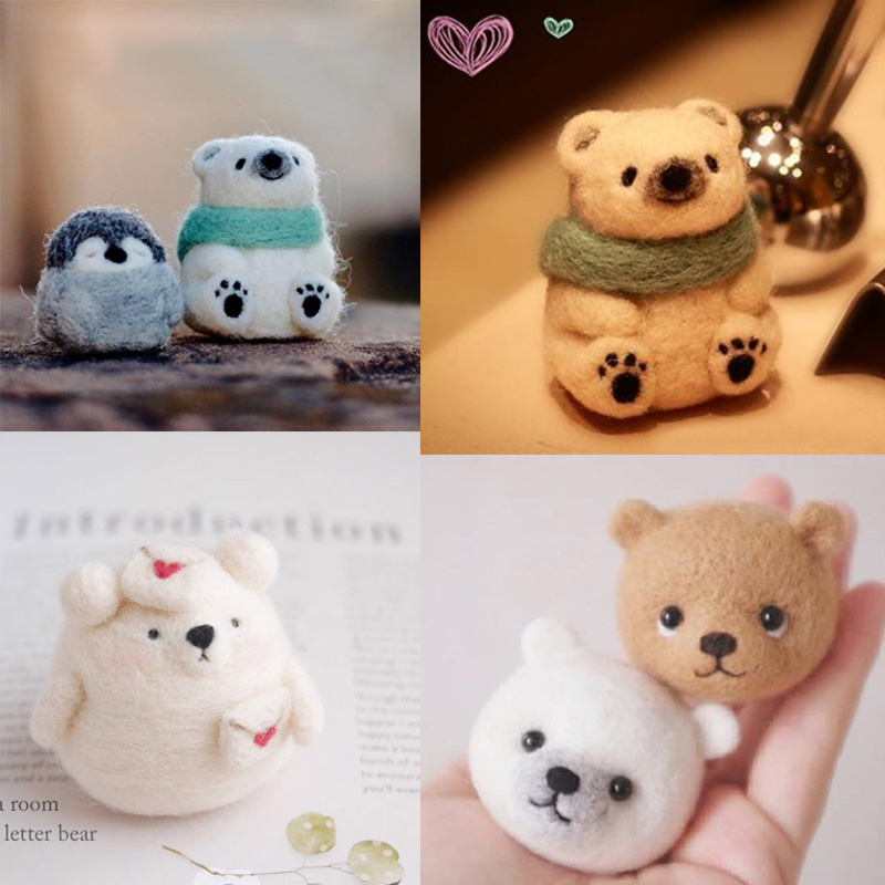 2019 Women Girls Popular Cute Bear Honey Snow Bear Wool Felting Toy Doll Wool Felt Poked Kitting DIY Package Non-Finished