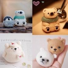 Kit de feutres Non finis pour femmes et filles, ours mignon populaire, miel, neige, peluche en laine, paquet de bricolage