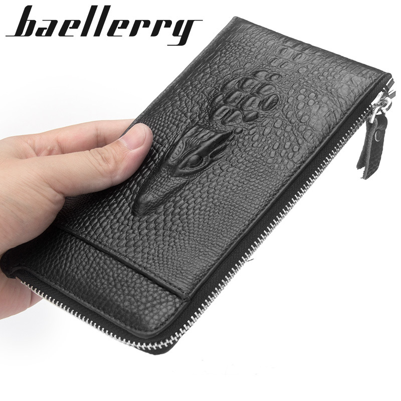 New Genuine Cow Leather Men Alligator Slim Soft Long Zipper Wallet Male Coin Purse Money Pocket Pochette Clutch Bag Card Holder casual pu leather men hasp long wallet luxury money coin pochette slim portf purse card holder pocket clutch male pouch bag
