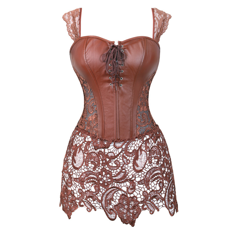 Women Faux Leather Burlesque Steampunk   Corset   Lace Dress Waist Gothic   Bustier     Corset   Sexy Lingerie Top Plus Size Black Brown