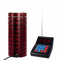 Restaurant Wireless Paging Queuing System With 1 Transmitter 10 Coaster Pagers Chargeable