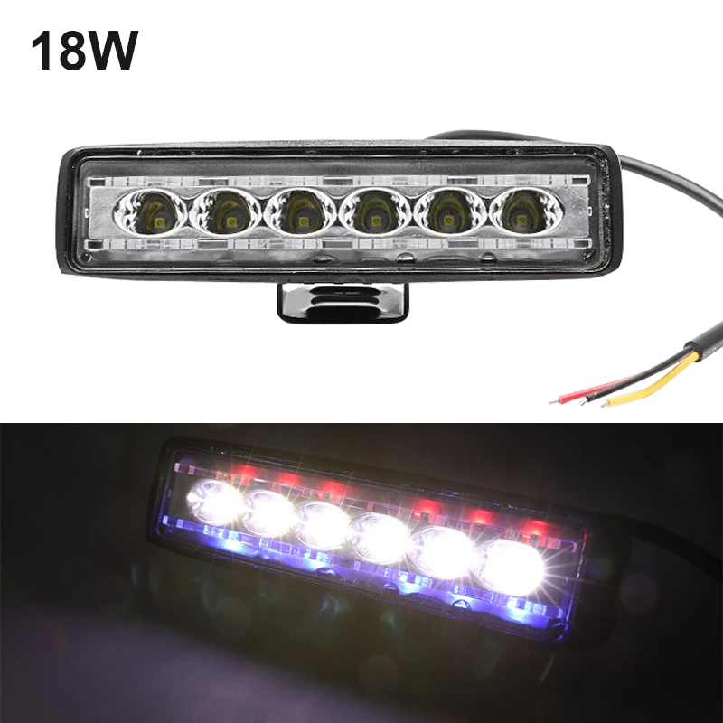 1 piece New Car work light single row 18w 6 LED with red and blue smashing 12v led strip light off-road vehicle inspection light image