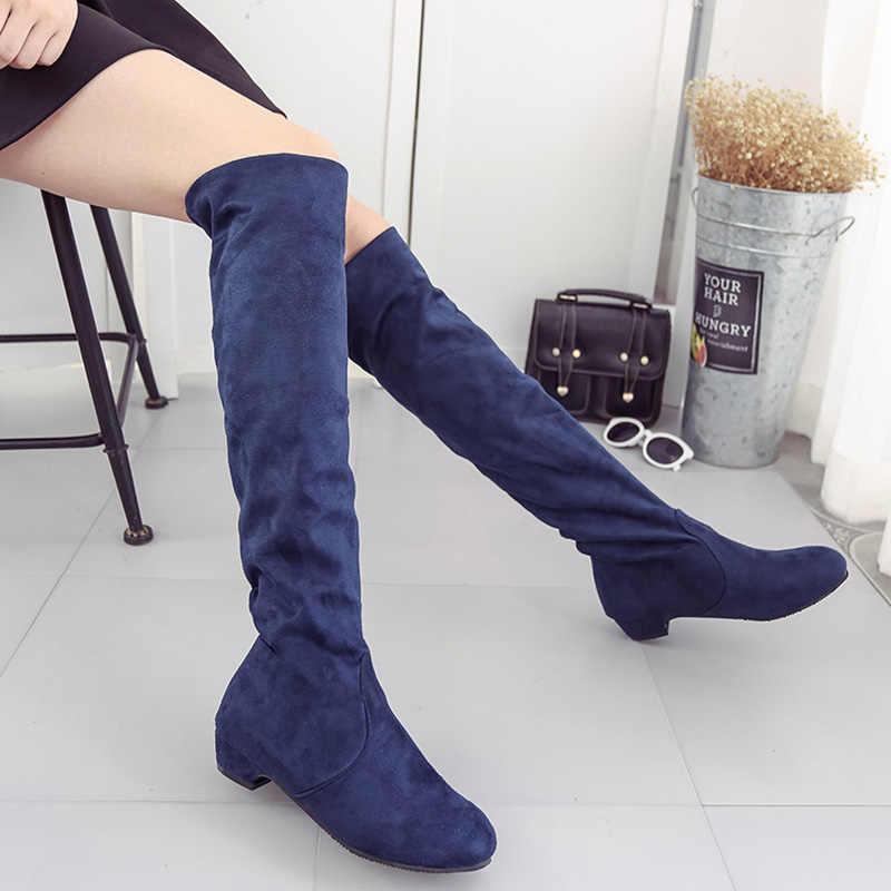 Moda Kadınlar Kış Ayakkabı Kadın Çizmeler Süet Mat Artı Boyutu Diz Üzerinde Çizmeler Yuvarlak Ayak Kadın Kışlık Botlar Bota kadın Ayakkabı