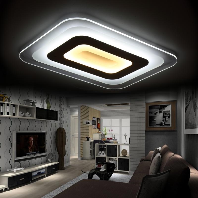 купить Modern brief slim square acrylic led ceiling lamp home deco living room creative personality white iron ceiling light fixture по цене 4585.07 рублей
