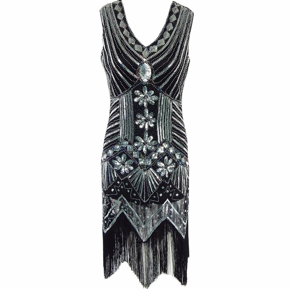 Gatsby Gaun Wanita Berpayet Gaun besar V Leher Manik-manik Berpayet - Pakaian Wanita - Foto 6