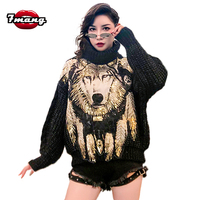 7mang 2018 winter women street loose black turtleneck wolf sequins sweater long sleeve party warm pullover sweater