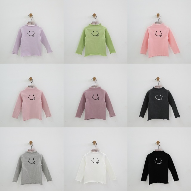 Birthday Tee Running Childrens T Shirt Girls Cartoon Printing Long Sleeve 2018 Autumn Cotton Candy Color Bottoming