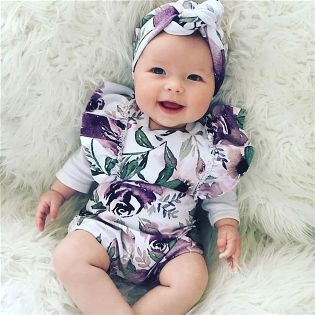 Infant Baby Girl Romper Jumpsuit Floral Clothes Newborn Headband+Bodysuit Outfit