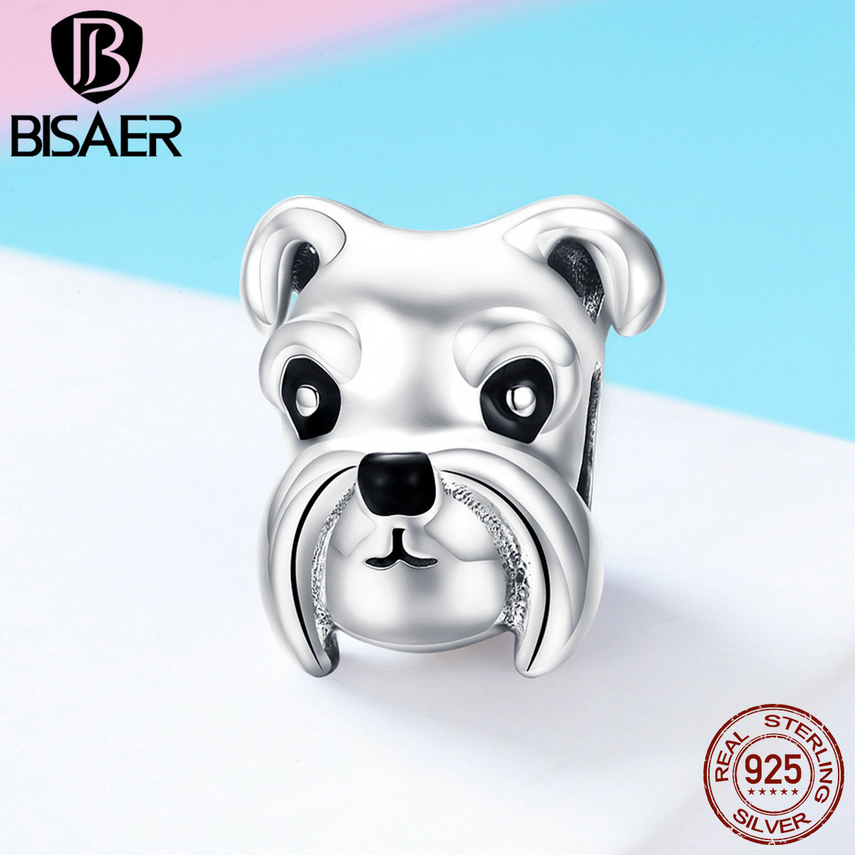 BISAER Dog Charms 925 Sterling Silver Schnauzer Charm Animal Dog Beads fit Bracelets Necklaces Silver Jewelry Making ECC835