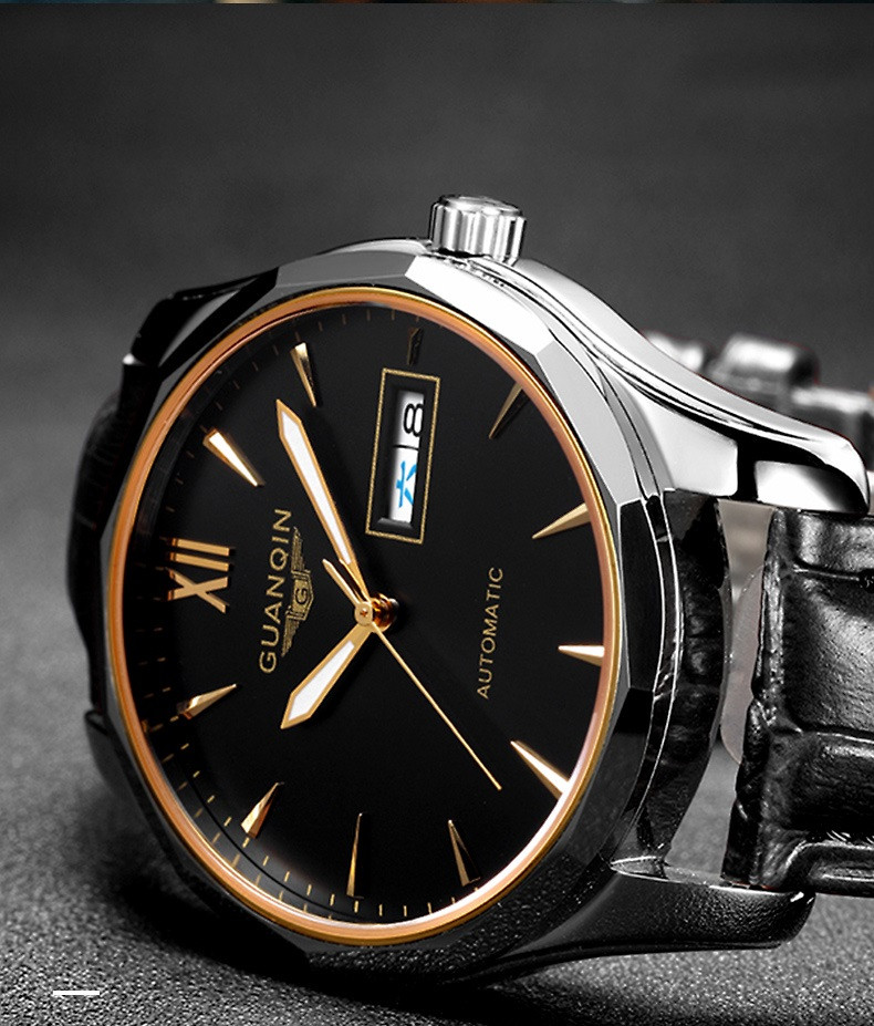 GUANQIN Luminous Men Watch Automatic Mechanical Tungsten Steel Watches Date Calendar Japanese Movement Watch with Leather Strap (16)