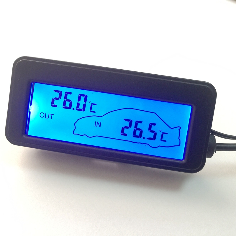 dc 12v digital car thermometer black mini lcd car inside outside temperature meter monitor blue. Black Bedroom Furniture Sets. Home Design Ideas