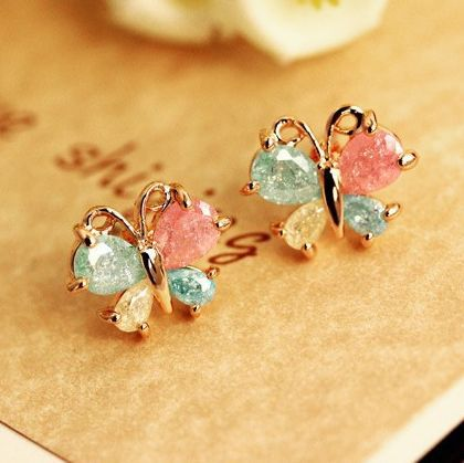 design colored creative color rhinestone earring lady stud unique for gold butterfly jenia jewelry item
