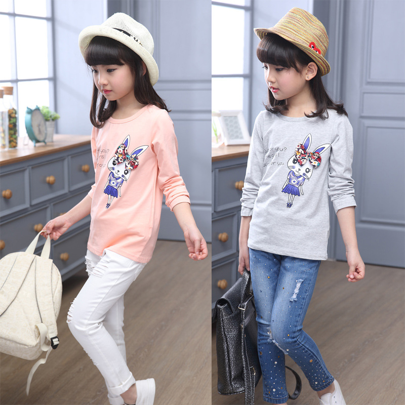 Children 39 s clothing autumn spring long sleeved bottoming shirt cartoon round neck wild casual new t shirt baby girl clothes in Tees from Mother amp Kids