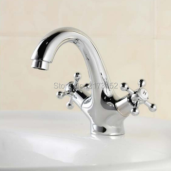 Free Shipping Luxury Chrome Deck Mounted Bathroom Faucet Double Wheel Handle Hot&Cold Brass Basin Sink Mixer Tap C-010