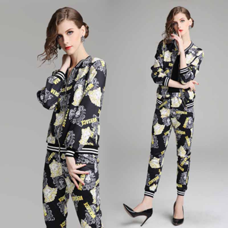 Print Silky Thin 2 Two Piece Set Women Clothes Zip Tops+Bodycon Pants Sweat Suit Casual Outfits Matching Sets Tracksuit Wea