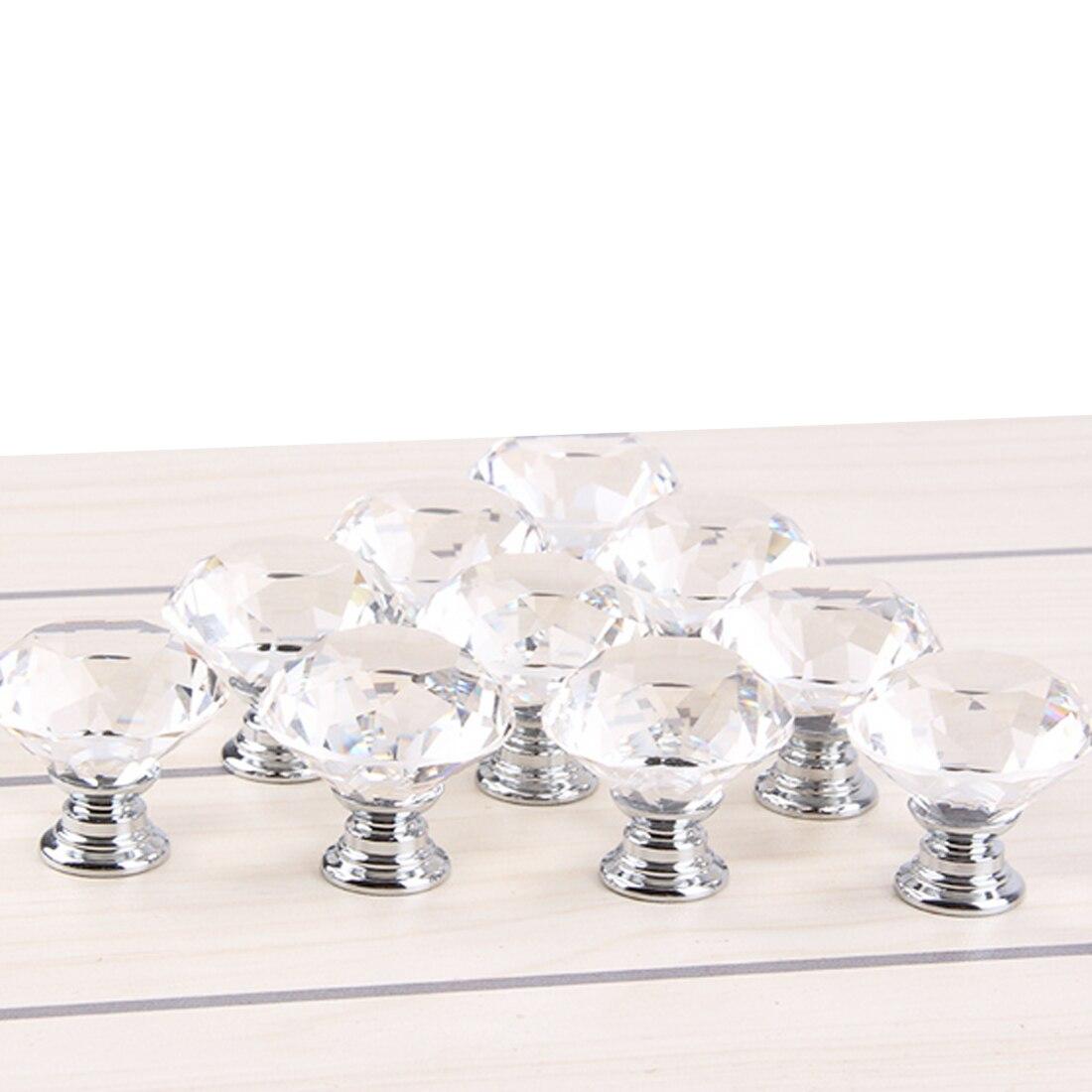 New 10 Pcs 30mm Diamond Shape Crystal Glass Door Handle Knob for furniture Drawer Cabinet Kitchen Pull Handles Knobs Wardrobe недорго, оригинальная цена