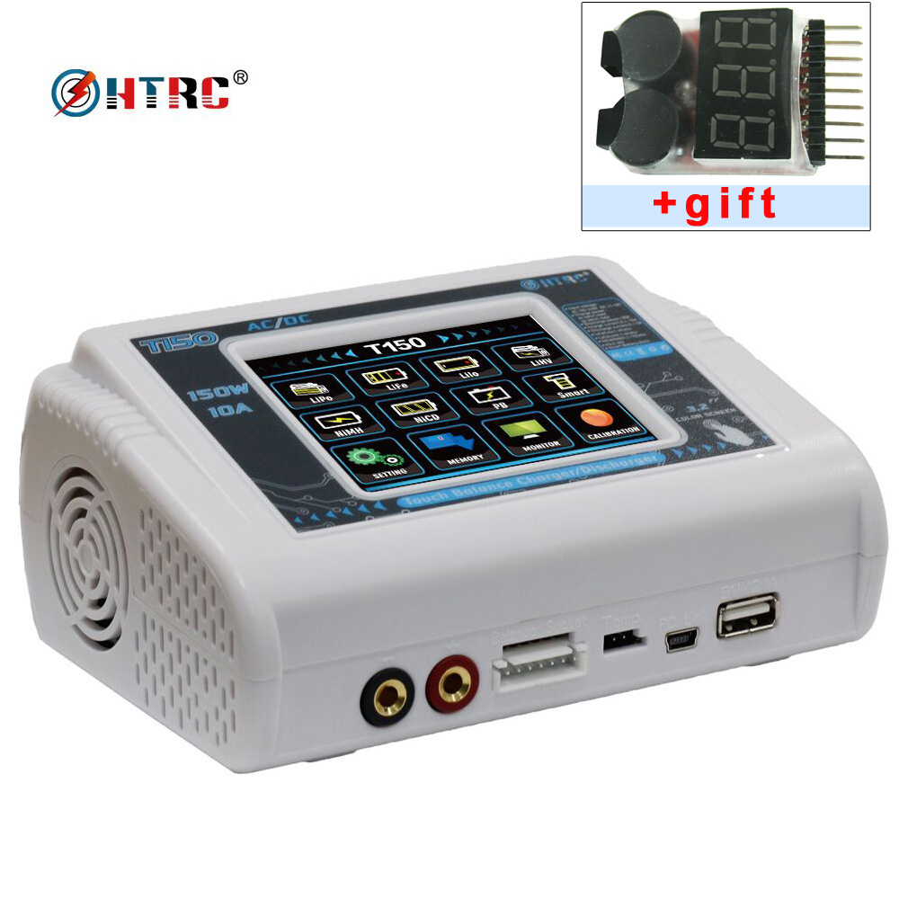 HTRC T150 AC/DC 150W 10A Touch Screen RC Balance Charger discharger for LiPo LiHV LiFe Lilon NiCd NiMh Pb battery