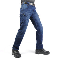 New IX7 SWAT Military Style Cargo Jeans Men Casual Motorcycle Denim Biker Jeans Stretch Multi Pockets