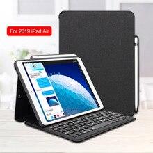Ipad Hava 2019 Durumda Klavye için Kalem Tutucu ile Bluetooth Akıllı Katlanır Deri Tablet Kapak iPad Için 10.5 Hava 3 Kılıf iPad Hava Için 3. iPad Pro 10.5 Kılıf Lüks İş Hafif Ince Ince Tablet PC Tam Vücut Koruma Kılıf