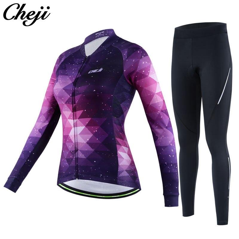 Cheji велосипед Костюмы Quick Dry starrysky узор Для женщин с длинным рукавом Велоспорт  ...