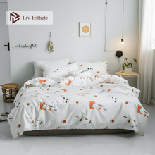 Liv-Esthete Hot Sale Cute Cat Cartoon 100% Cotton Bedding Set Kids Duvet Cover Pillowcase Flat Sheet Double Queen King Bed
