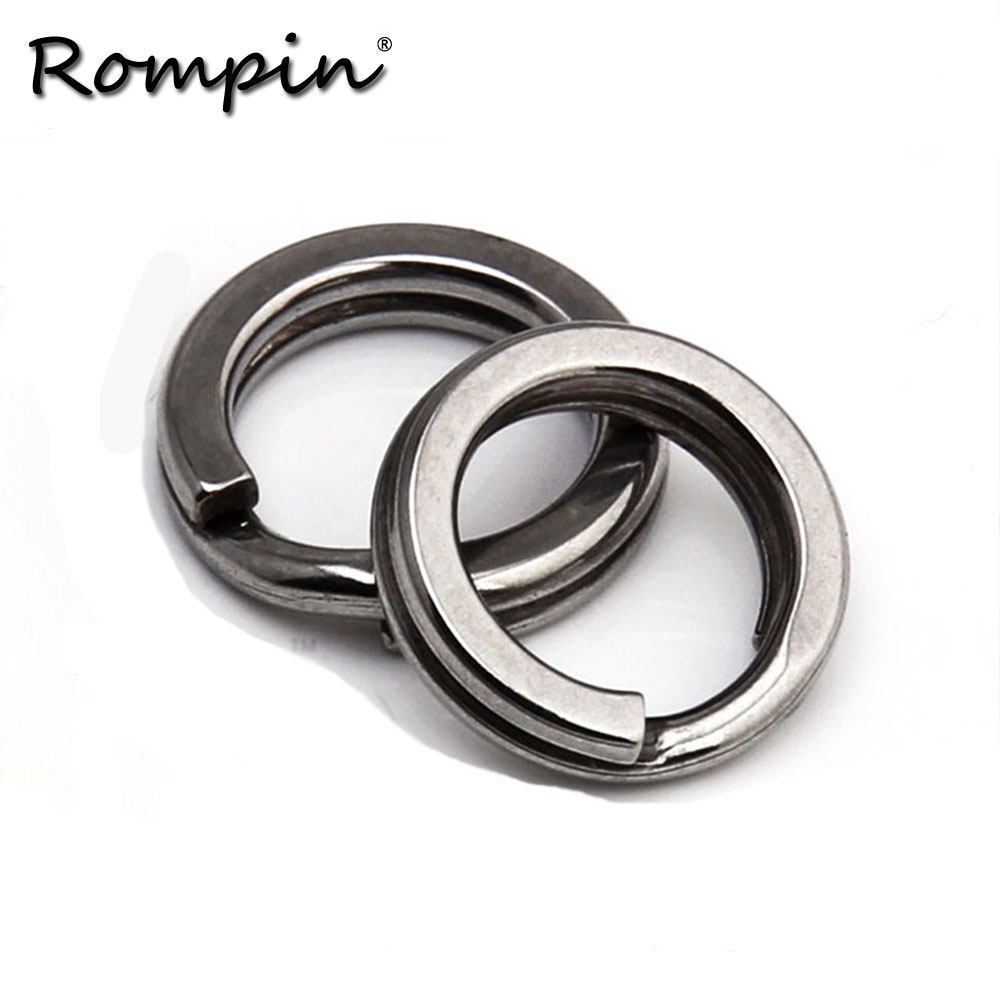Rompin 50pcs/lot Stainless Steel Split Flat Rings For Fishing Lures Crank Bait Hard Bait Carp Fishing Tools Double Loop