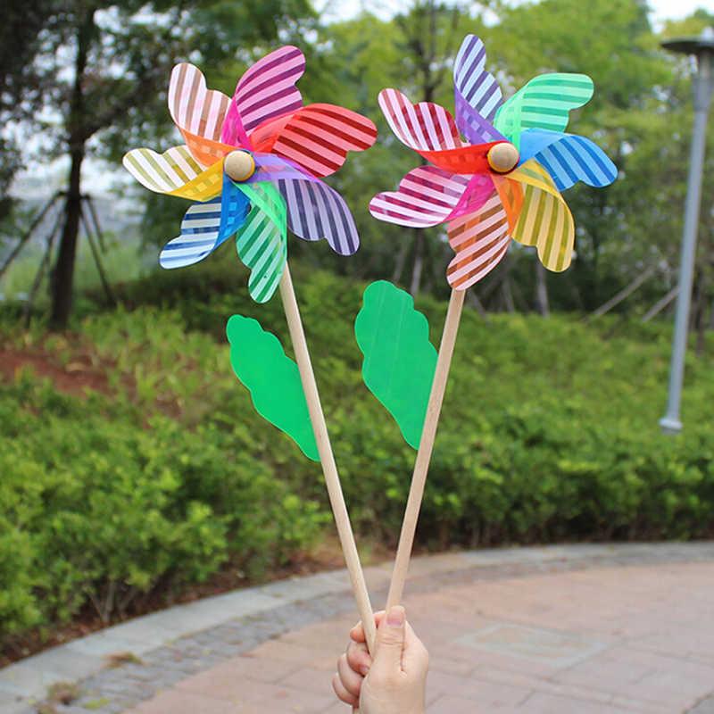 1 pc bonito de alta qualidade 24cm madeira jardim quintal festa moinho vento spinner ornamento decoração crianças brinquedos novo