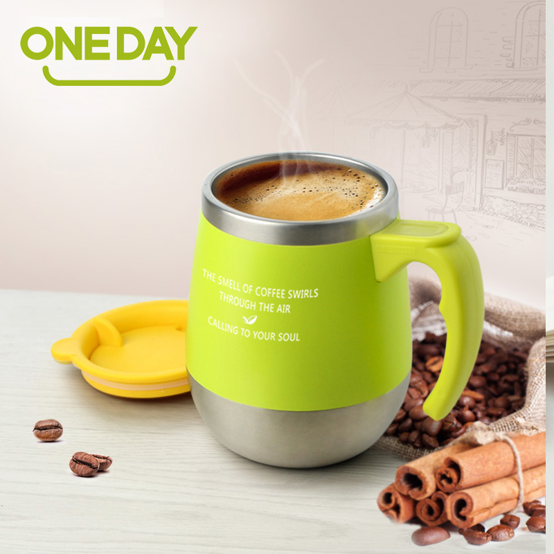 450ML Mug Coffee Cup Stainless Steel Milk Tea Mug Keep Mugs With Handle Anti Dust Coffee
