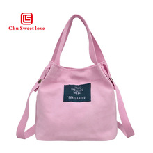 Ladies canvas shoulder bag cartoon printing handbag large capacity beach cloth shopping