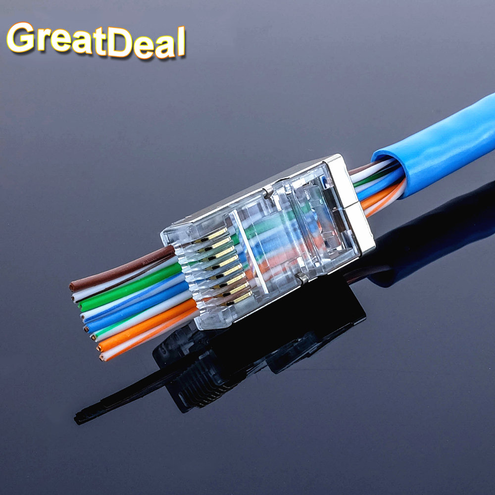 50pcs rj45 connector cat5e Cat6 network connector 8P8C metal shielded modular EZ rj45 plug Cat 6 terminals have hole HY1549 2016 new 30 pcs metal shielded 8p8c rj45 plug network connectors w protective sleeve