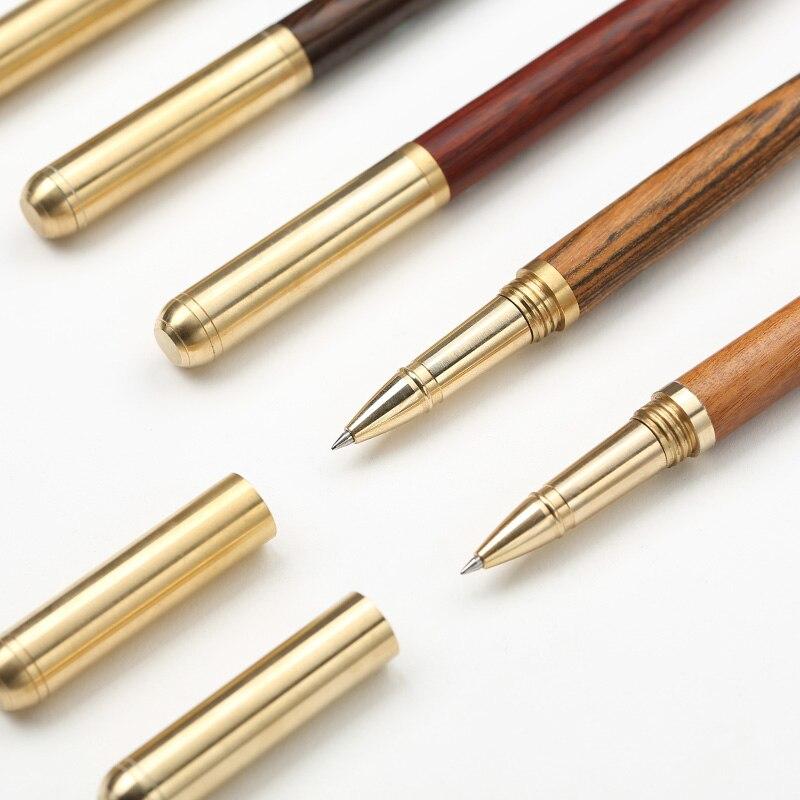 Luxo De Bronze Madeira caneta esferográfica de tinta preta de Metal canetas esferográficas canetas de escritório artigos de Papelaria material Escolar Canetas escolar 2002