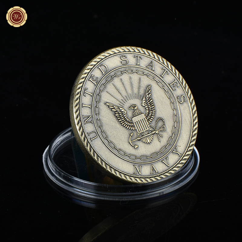 WR Colored Popeye Bronze Plated Commemorative Coin Birthday Gifts United States Navy Proud Metal Challenge Coin for Collection