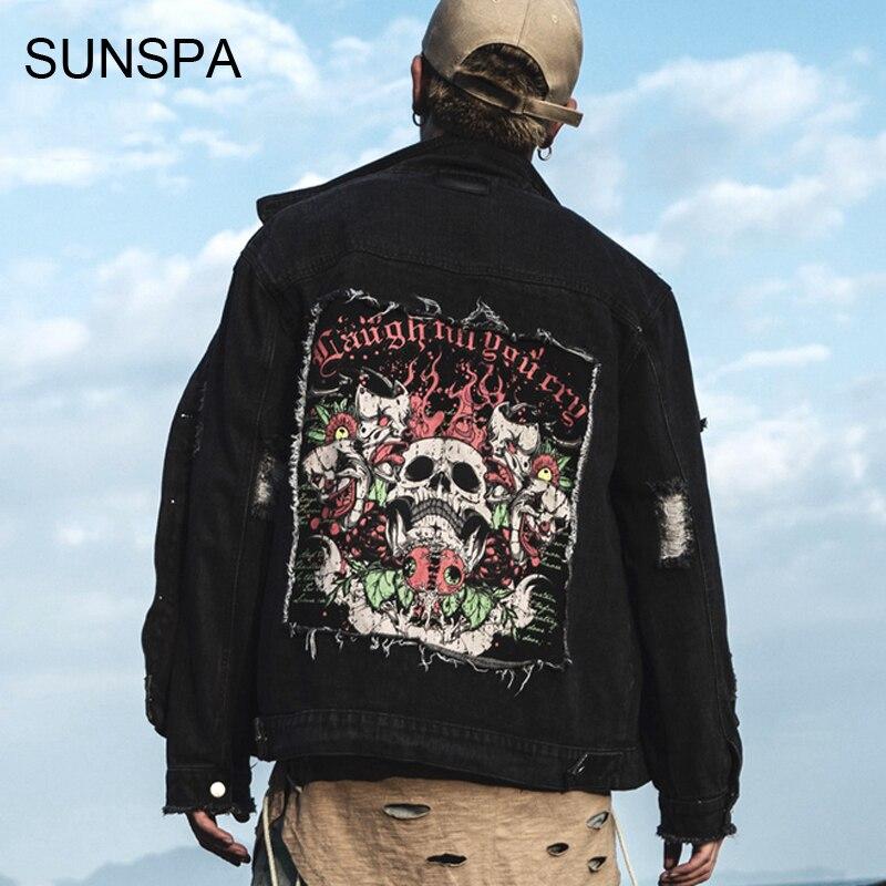 SUNSPA 2017 jaqueta masculina autumn and winter new men jacket fashion printing the back of skull face embroidery men jacket