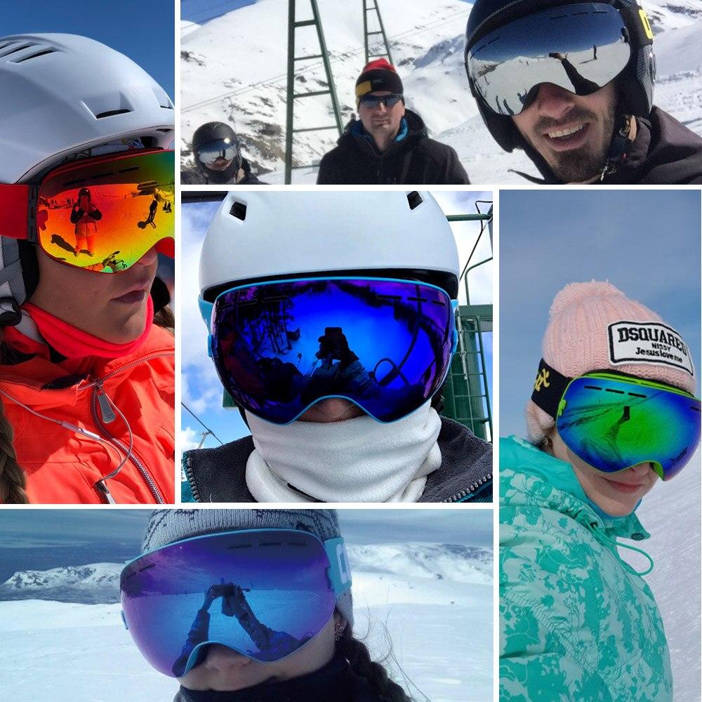 COPOZZ marque ski lunettes 2 couche lentille anti-brouillard UV400 jour et nuit sphérique lunettes de snowboard hommes femmes ski neige lunettes Set - 6