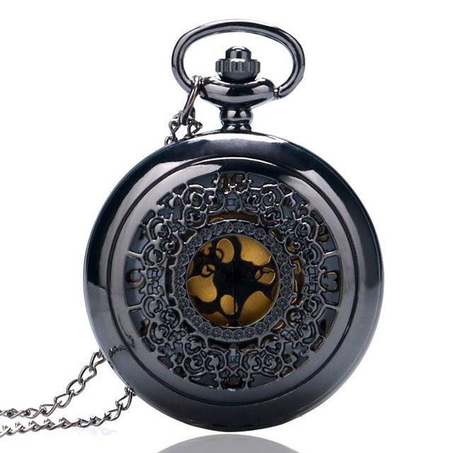 Charm Black Vintage Steampunk Elgent Grilles Case Quartz Pocket Watch Women Neck