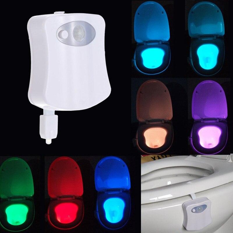 8 Colors PIR Motion Sensor Toilet Seat Night Light Waterproof Backlight For Toilet Bowl LED Luminaria Lamp WC Toilet Light