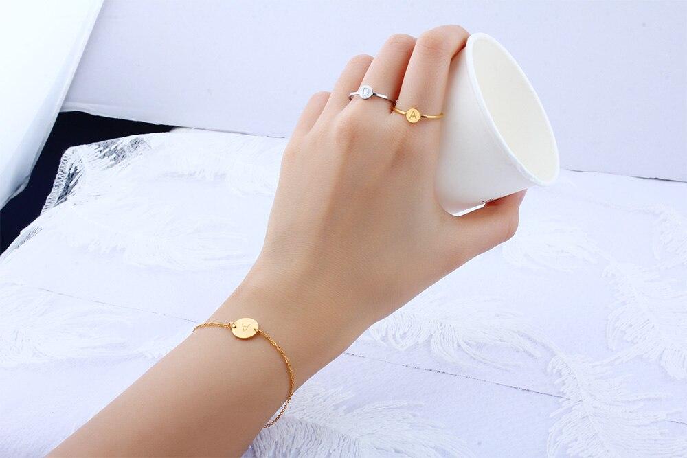 Кольцо в форме сердца с буквами, ювелирные изделия из нержавеющей стали, кольцо для аксессуаров, Серебряное Золотое кольцо на палец, набор ювелирных украшений для женщин