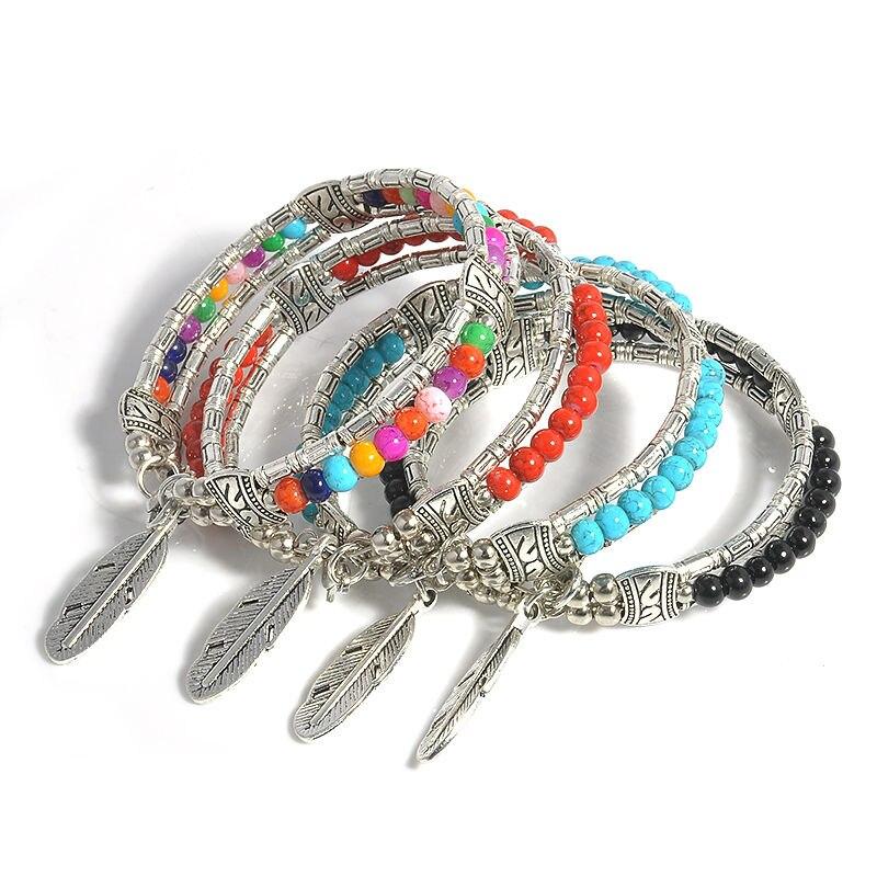 LNRRABC National Women Boho Bracelets Vintage Feather Tibetan Bangle Gypsy Chram Bracelets Party Gift 2017