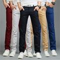 2017 del otoño del verano del estilo de negocios de moda casual hombres pantalones largos ocasionales rectos delgados pantalones de moda multicolor pantalones de los hombres 7 colores