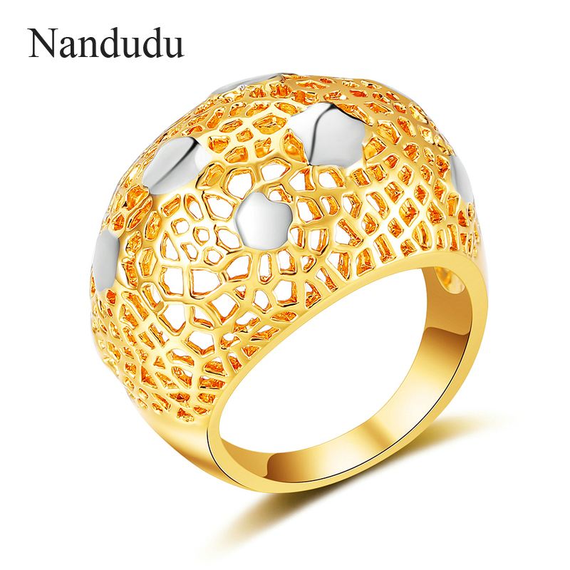 Nandudu Gold and Silver Mix Color Rings Two-tone Gold Color Hollow Ring Accessories Gift Trendy Modern Fashion Jewelry R1989