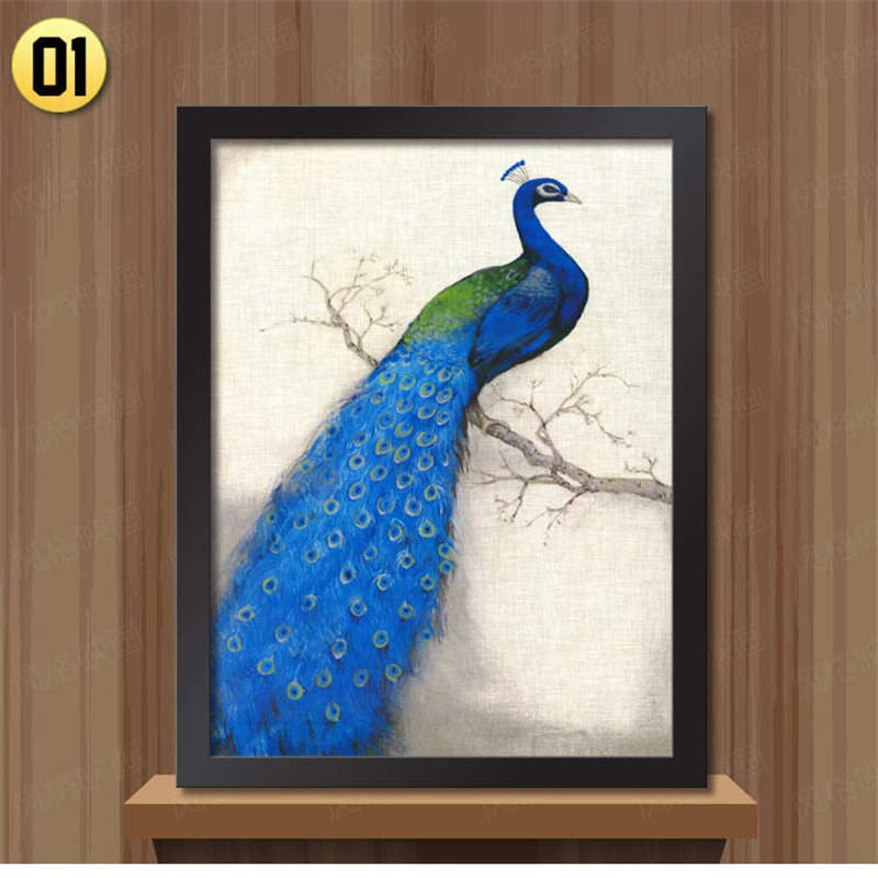 white black frame retro peacock pictures for bedroom modern home decoration wall art animal painting on