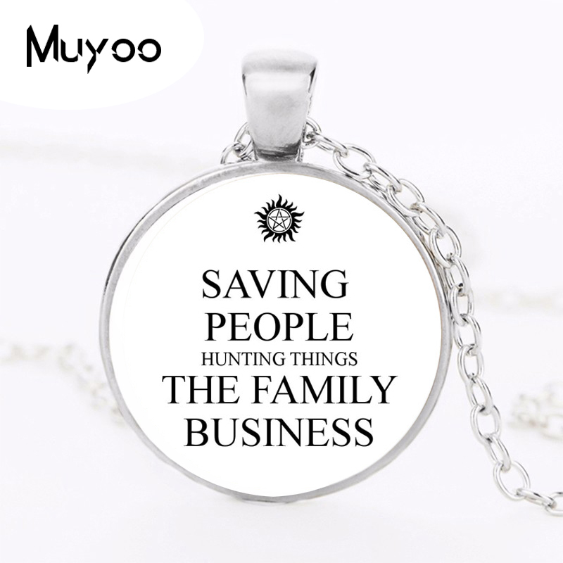 Supernatural Logo Pendant Necklace People Hunting Things The Family Business Vintage Round Necklace Women Jewelry Gift HZ1