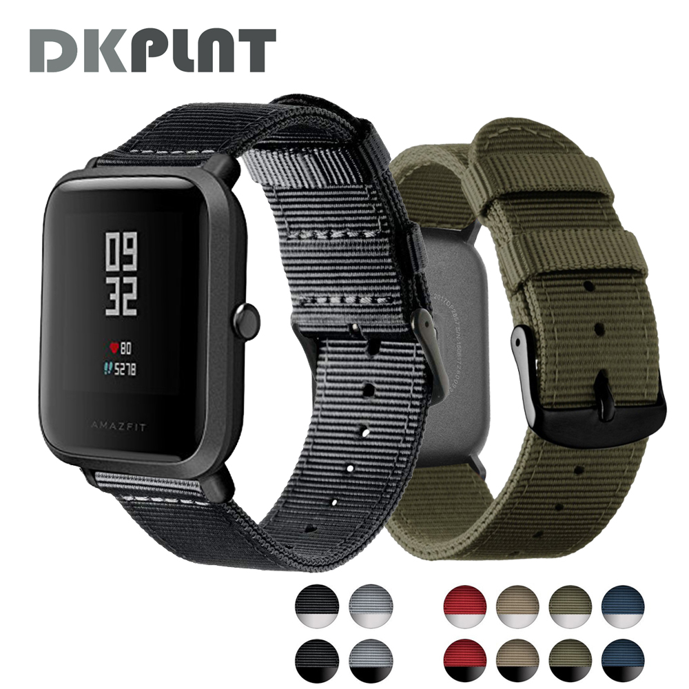 DKPLNT fashion Colorful Nylon wristband for Xiaomi huami Amazfit Bip BIT PACE Lite Youth Watch Band strap fitness bracelet cool magic sticker canvas strap wrist band for huami amazfit bip youth watch fitness tracker fitness braceletdrop shopping