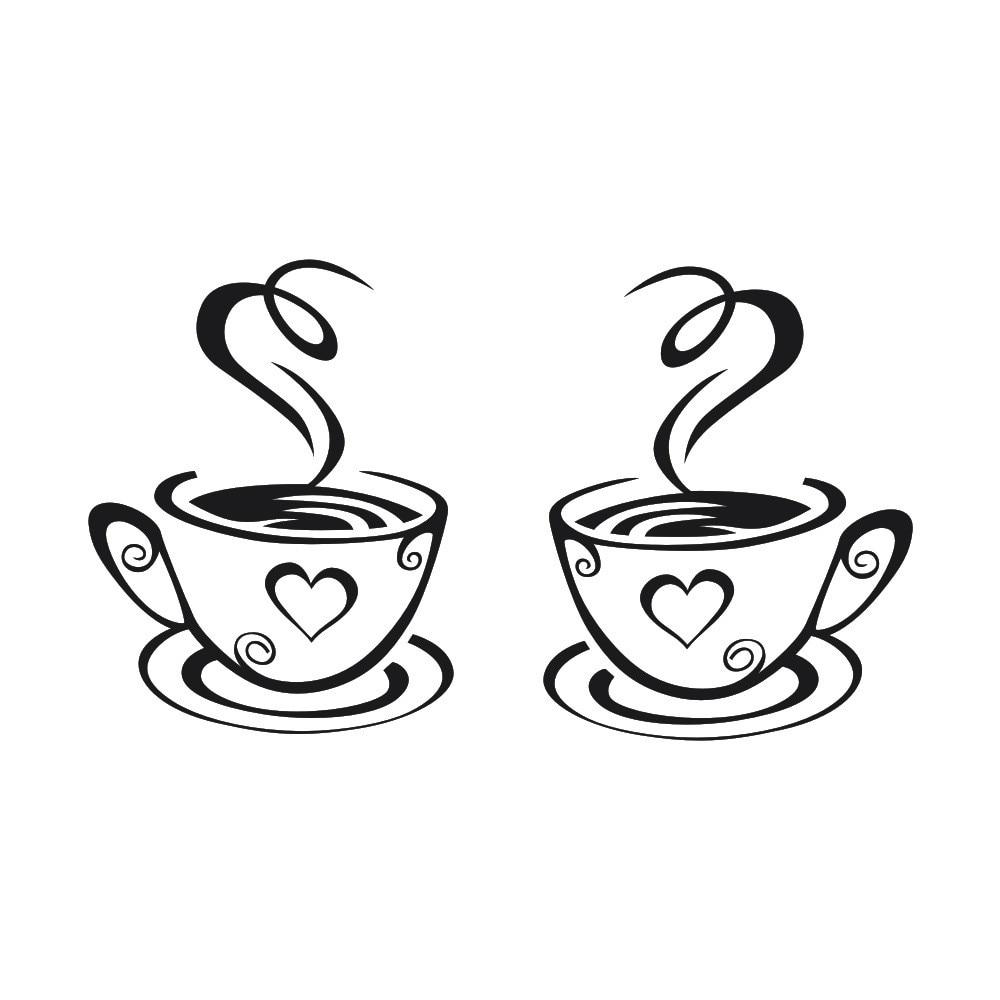 Wall Stickers New Arrival Beautiful Design Coffee Mugs Tea Coffee Art Decal  Vinyl Kitchen Restaurant Pub Decor C7724