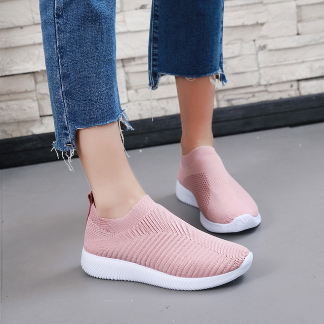 Summer breathable flat shoes women's sports shoes knitted vulcanized shoes mesh anti-slip socks sports shoes сникерсы женские#15