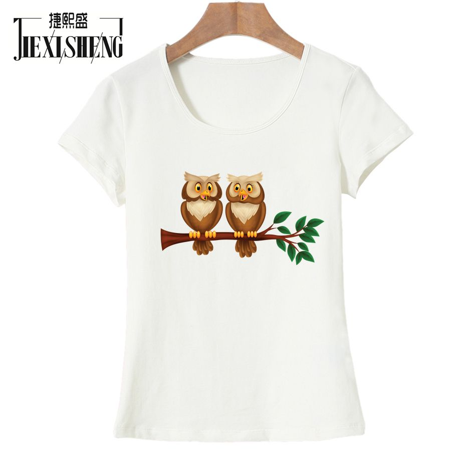Fashion Hot Sale Women T Shirt Two Owls Printing Female Round Neck T-shirts Short Sleeve Casual Cute Tee